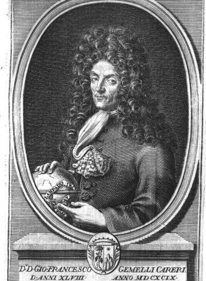 Retrat de Gemelli Careri a la traducció francesa de la seva obra, 'Voyage du Tour du Monde'