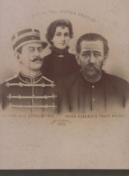 Retrat d'Alfred Dreyfus i la seva dona, on es mostra l'abans i el després de l'empresonament del capità francès