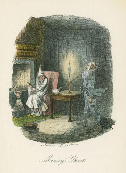 El fantasma del Nadal del passat visitant a Scrooge. Il·lustració de John Leech per a la primera edició de 'Canço de Nadal' (1843)