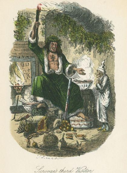L'espectre del Nadal del present, il·lustració de John Leech per a la primera edició de 'Canço de Nadal' (1843)
