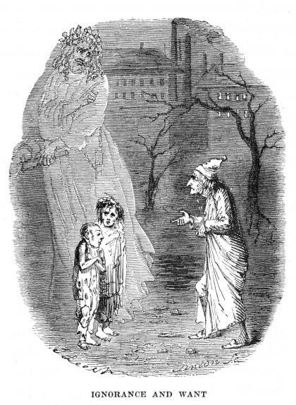L'espectre del Nadal del futur mostrant-li a Scrooge la desolació de dos nens. Il·lustració de John Leech per a la primera edició de 'Cançó de Nadal' (1843)