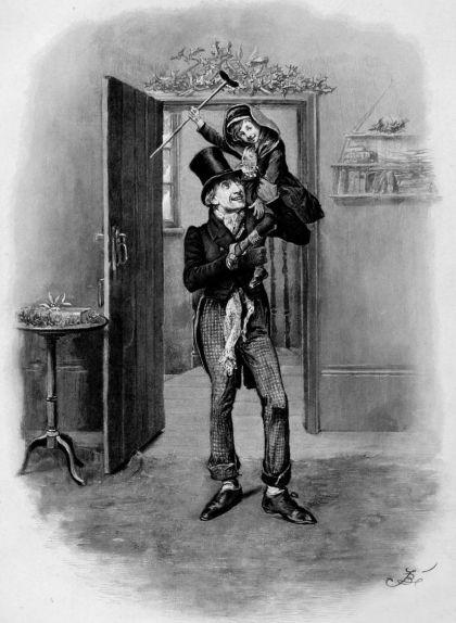 Bob Cratchit i Tiny Tim, il·lustració de Fred Barnard (1870)