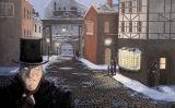 Il·lustració del passatge de 'Cançó de Nadal' que mostra Ebenezer Scrooge després de passar per davant de gent cantant nadales