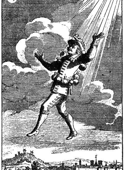 Il·lustració de 1708 del segon volum de l'obra de Cyrano de Bergerac, 'Els estats i imperis de la Lluna'