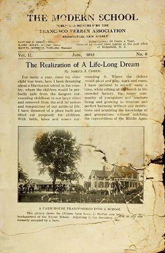 'La realització d'un somni de tota una vida', el titular de 'The Modern School Magazine' amb una fotografia de la colònia a Stelton (juny del 1915)