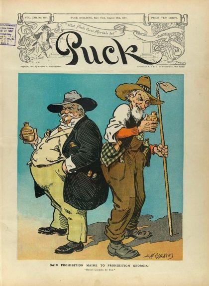 Il·lustració del 1907 que mostra dos homes, Georgia i Maine, amb dues botelles, que porten les etiquetes Orange Phosphate i Cold Tea però que, en realitat, amaguen alcohol