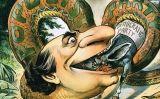 Il·lustració de William Jennings Bryan representant el populisme com una serp que es menja la democràcia (1896)