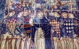 Detall del retaule ceràmic de Sant Vicent Ferrer a l'exterior de la catedral de Santa Maria, a València