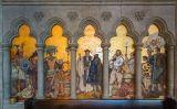 Francis Drake dirigint el primer servei anglicà a l'Amèrica del Nord