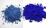 A l'esquerra, pigment de blau ultramarí (lapislàtzuli) natural; a la dreta, la imitació sintètica