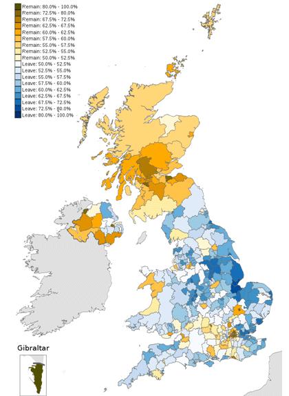 Resultats del referèndum de permanència a la UE del 2016 (groc: romandre-hi; blau: marxar-ne)