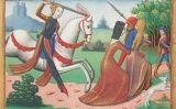 Il·lustració de Joana d'Arc perseguint prostitutes de l'exèrcit del 1484