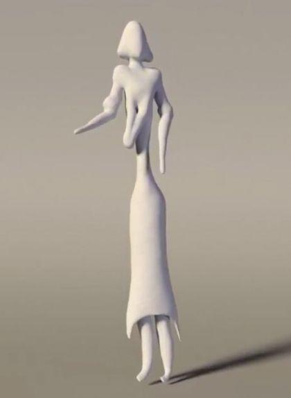 Recreació en 3D d'una dona de la Roca dels Moros del Cogul