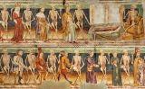 Fragment del mural 'Dansa de la mort' de Janez de Kastav a l'església de Hrastovlje (Eslovènia)