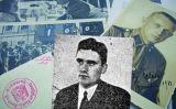 Fotografia de Hans Hellermann (en blanc i negre), a sobre de documents sobre el partit nazi a Catalunya