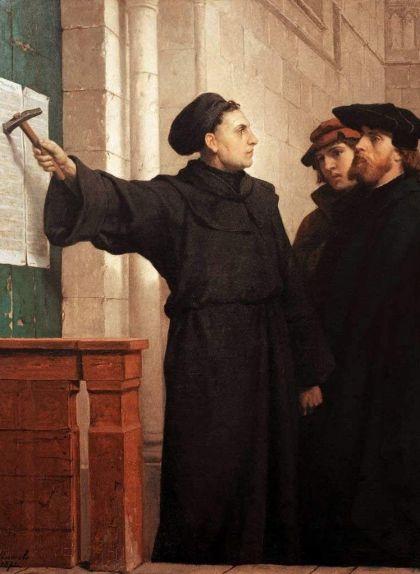'Luter penja les 95 tesis a la porta', quadre de Ferdinand Willem Pauwels