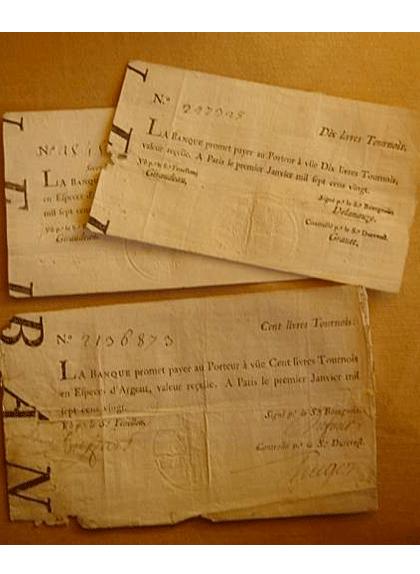 Bitllets de 1720 emesos per la Banca Reial francesa
