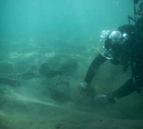 Una de les immersions de la campanya de recerca dels galions de la batalla de Barcelona