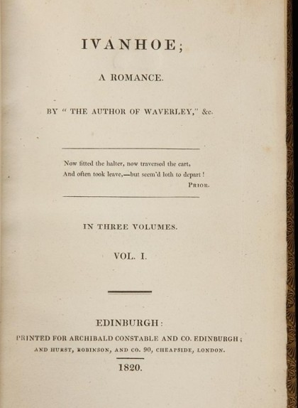 Coberta de la primera edició d''Ivanhoe', de 1820