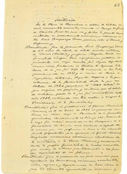 Primera pàgina de la sentència a Lluís Companys