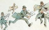 Il·lustració d'un home amb notícies falses corrent cap a la impremta, de Frederick Burr Opper