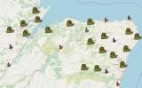 Mapa de la cacera de bruixes a Escòcia